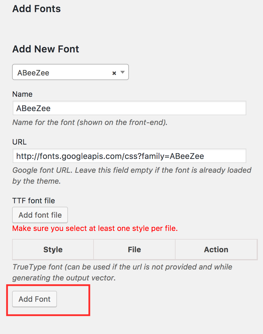 woocommerce product designer – add google font button